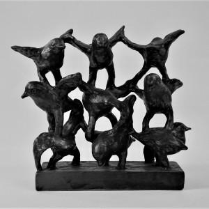 Fuglestak II (9 fugle)  H28,5xBR9xL25,5   Pris 7.500 kr